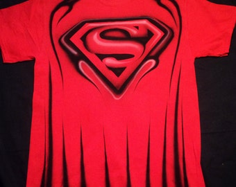 Airbrushed Superman Red Version T Shirt Hand Painted airbrush