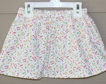 Girls Skirts Baby Girl Skirt Toddler Girl Skirt - Rainbow Colored Musical Notes Skirt