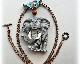 Elephant pendant - polymer clay necklace  - animal jewelry - Boho style - indian - miniature - boho jewelry - gift for woman - nature