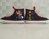 Super Mario Shoes , Custom Converse Hand Painted For Fans, Cosplayers and Gamers