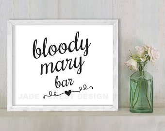 Bloody Mary Bar // Wedding Sign DIY // Elegant Calligraphy Printable Poster PDF // Classic Elegance ▷ Instant Download