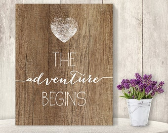 The Adventure Begins // Exciting Wedding Sign DIY // Rustic Wood Sign, White Calligraphy Printable PDF, Rustic Poster ▷ Instant Download