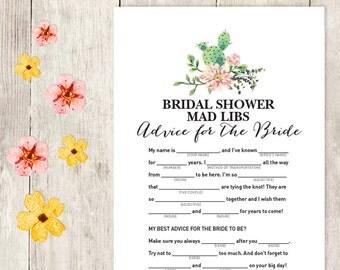 Floral Bridal Shower Game DIY / Pink Flower, Cactus, Fiesta / Mad Libs Printable / Advice for the Bride / Wedding Shower ▷ Instant Download