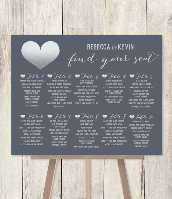 Modern Wedding Seating Chart Silver And Gray Faux Metallic