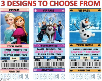 Personalized Frozen Birthday Party Movie Ticket Invitations Multi-Color Disney