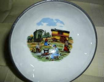 French rare small cafe au lait bol with scenery of a camp of gitans  Free shipping within USA