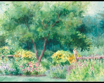 "Garden painting ""Roadside Garden"" watercolor giclee print 5x7."