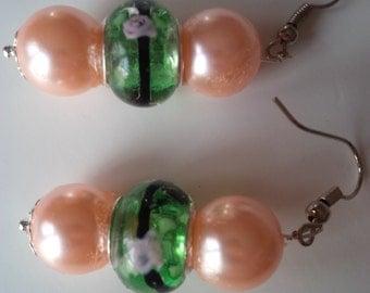 Beaded Pink & Green Earrings  (#97)