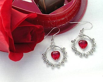 Red Glass Heart Hoops - Wire Wrapped Earrings