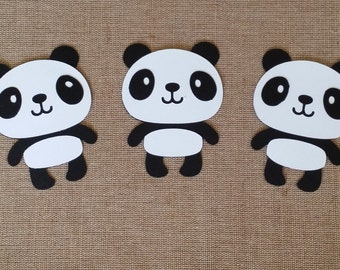 Panda Die Cut Piece set of 3