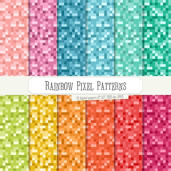 Buy 2 Get 1 Free Digital Paper Rainbow Pixel Patterns Green
