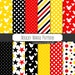 Buy 2 Get 1 Free! Digital Paper Mickey Mouse Pattern, Black, Red & Yellow stars, polka dot, stripes, head for tag, Bracket Shapes, seamless