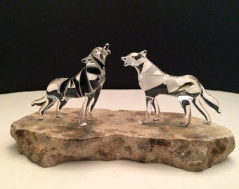 Handblown Glass Double Wolves Sculpture