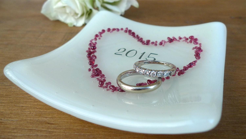 Personalised Wedding Gift Ring Dish : Personalised wedding ring dish. Bride & groom gift.