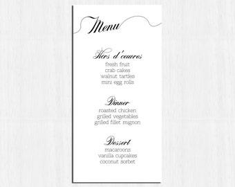 Printable Menu, Elegant menu, calligraphy wedding menu, simple menu, black white wedding menu, printable wedding menu, simple wedding menu