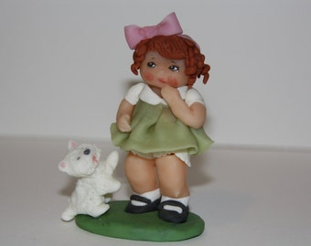 Cold-porcelaine made doll with dog