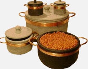 Copper Pots, Sugar Bowl up to Dutch Oven