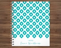 custom notebook journal / personalized lined notebook / blank notebook / spiral bound notebook / teal blue ikat tribal pattern