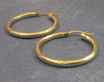 Vintage Sterling Silver DIamond Cut Snap-Post Hoop Earrings