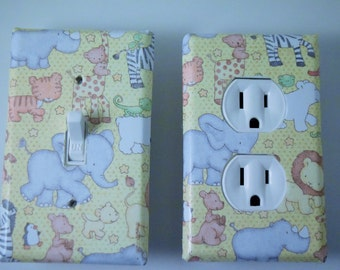 nursery,elephant,giraffe, baby, switch plate, light switch cover,light, new baby, housewares, home decor,light switchplate cover