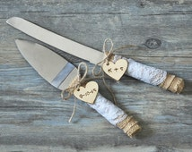 Rustic Wedding Cake Knife Set, Wedding Cake Knife, Cake Cutter Set, Custom burlap wedding cake server set, Personalized Cake Serving Knife
