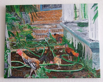 Title: Chicken Walk to Freedom; Original Acrylic Painting