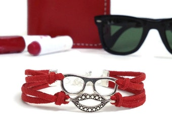 Sunglasses bracelet Glasses lips bracelet Summer red bracelet Kiss bracelet Glasses bracelet Suede bracelet Glasses lips jewelry, 15 colors