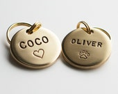 Dog Tag / Pet ID Tag, Round Shaped Tag -Brass-, Customized, Personalized, Hand Stamped