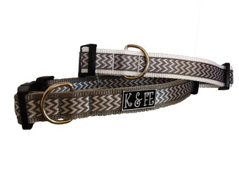 Platinum Chevron Buckle Dog Collar