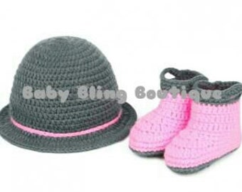Crochet Hat and Boots Photo Prop  - Size 3-9 months