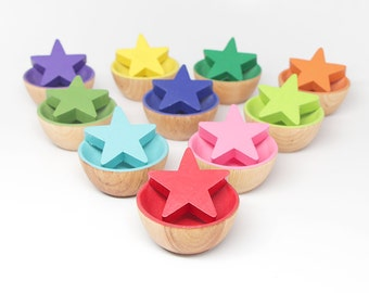 20-Piece Color Matching Toy (Stars & Bowls) - Kids Wooden Toy / Educational Toy / Montessori Toy / Waldorf Toy