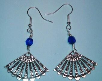 Blue and Silver Fan Earrings
