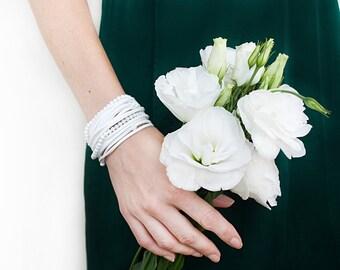 White wrap bracelet with cacholong beads Feminine suede bracelet Multi strand Gemstone stacking bracelet Wedding jewelry Bridesmaid bracelet