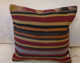 Handmade 100%  Wool Turkish Kilim Pillow 15'' x 15''- Striped