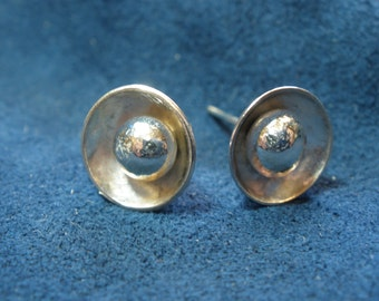 Small Sterling Silver Circular Domed Post Earrings