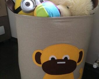 Items similar to storage basket kids storage bin girls room decor light blue birdhouse on etsy - Monkey laundry hamper ...