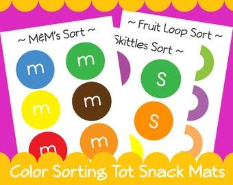 Color Sorting Snack Mats Tot Preschool Toddler Games - Instant Download PDF