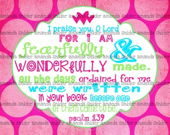 Girl Scripture Art Psalm 139 Wonderfully Made