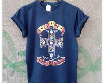 Vintage Retro 80s Guns N Roses Unisex Mens Womens Tee Top