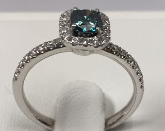 0.78 Ct. Blue and White Diamond 14K White Gold Engagement Ring