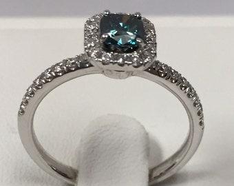 0.78 Ct. Blue and White Diamond 14K White Gold Engagement Ring