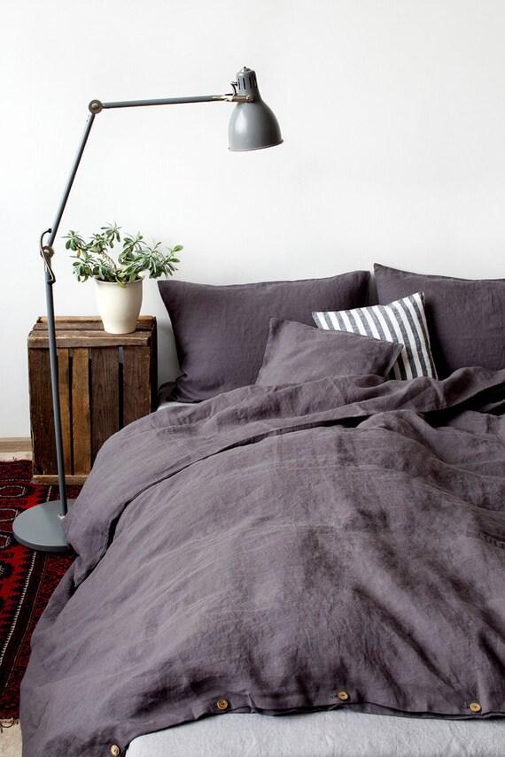 dark grey stone washed linen duvet cover. Black Bedroom Furniture Sets. Home Design Ideas