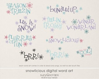 Snowlicious Word Art - Digital Scrapbooking Kit for Winter