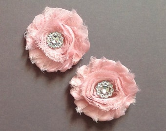 Pink hair Clips, light pink hair clips, shabby flower hair clip, baby hair clips, toddler hair clips