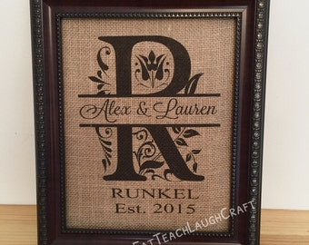 Personalized Burlap Split Letter Monogram {Frame NOT Included!!} - Perfect Wedding / Shower / Anniversary / Special Occasion Gift!!