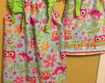 Owl sack ribbon dress with matching hair bow