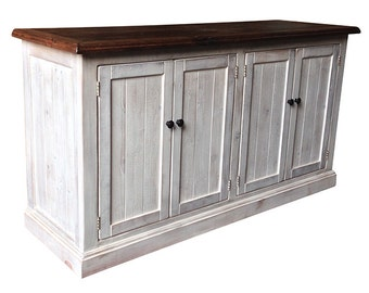 Reclaimed Salvaged Solid Wood Console Cabinet, Vintage and Rustic