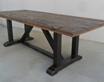 dining table reclaimed wood trestle table rustic industrial la jolla