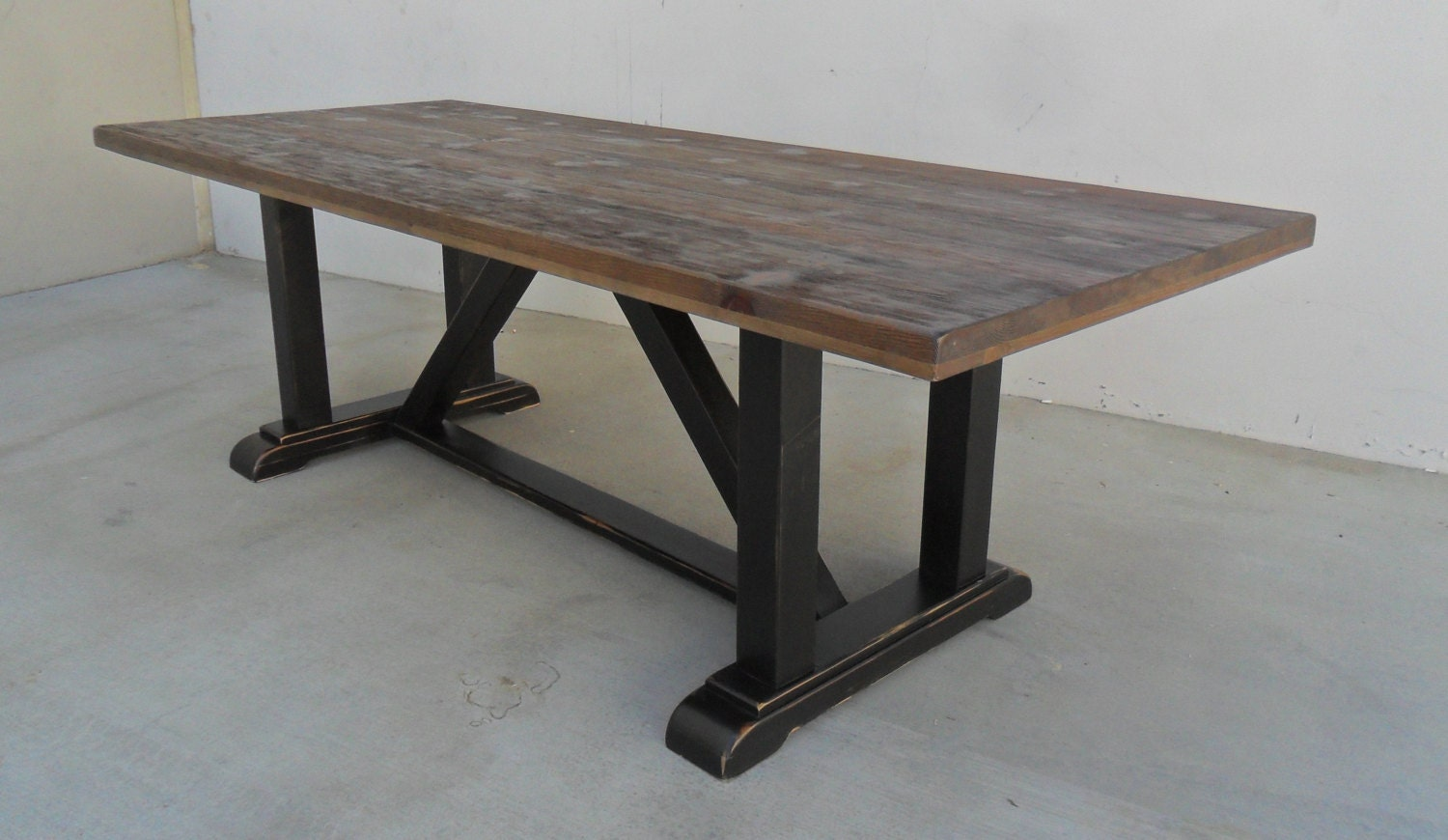 Dining table reclaimed wood trestle table rustic for Breakfast table
