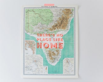"Vintage Map of Victoria & Tasmania ""There's No Place Like Home"""